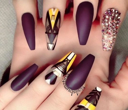 Studded Abstract Coffin Nails