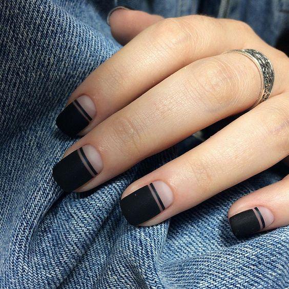 35 Edgy Matte Black Nail Designs | Nail Design Ideaz