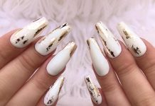 Gold Foil On White Coffin Nails
