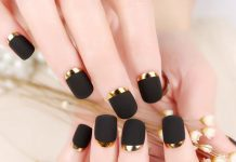 Gold Half Moon Matte Black Nails