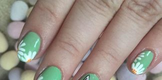 Flowers And Bunny Accent On Green Polish