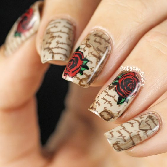 35 Vintage Floral Nails You Will Adore